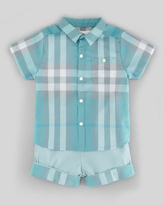 Burberry Short Sleeve Check Shirt, Pale Aqua