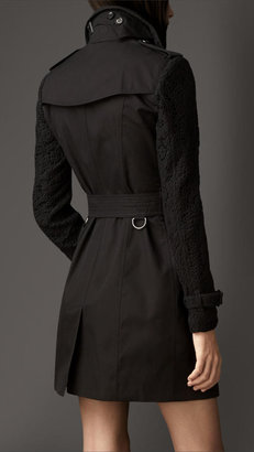 Burberry Mid-length Lace Sleeve Trench Coat