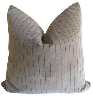 Fragments for Neiman Marcus Identity Taupe Velvet w/ Bark Pinstripe Pillow
