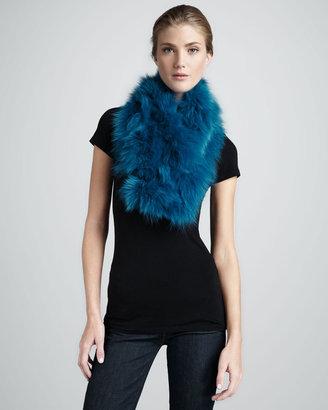 Diane von Furstenberg Fur Shawl Collar, Teal