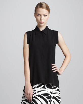 Marni Cap-Sleeve Button-Front Blouse, Coal