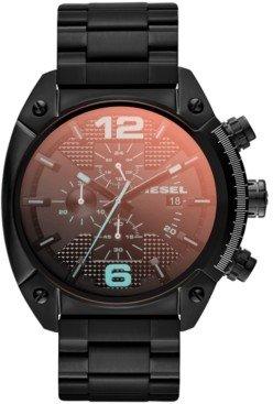 Diesel Unisex Chronograph Iridescent Crystal Overflow Black Ion-Plated Stainless Steel Bracelet Watch 54x49mm DZ4316