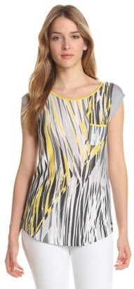Evolution by Cyrus Women's Short Sleeve Crew Neck Top Print Front Solid Back