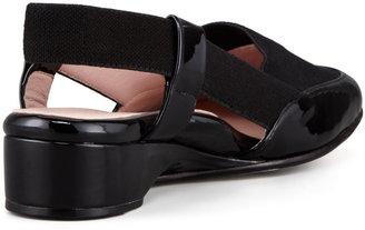Taryn Rose Kamille Patet-Linen Low-Wedge Slingback, Black