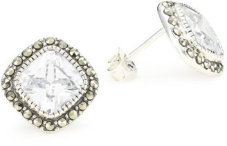 """Judith Jack Classics"""" Sterling Silver Marcasite Pave Square Cubic Zirconia Button Earrings"""