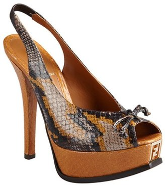 Fendi tan snake print leather singback peeptoe pumps