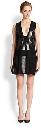 Vanessa Bruno Coated Geometric-Paneled Wool-Blend Dress