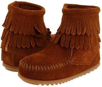 Minnetonka Kids Side Zip Double Fringe (Toddler/Little Kid/Big Kid) (Brown Suede) Girls Shoes