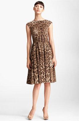 Dolce & Gabbana Leopard Print Full Skirt Dress