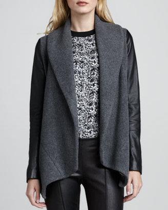 Theory Laura Leather-Sleeve Blazer
