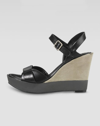 Cole Haan Paley Leather and Suede Wedge, Black/Khaki