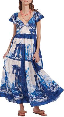 STAUD Corsica Tiered Printed Long Dress