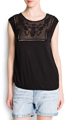 MANGO Embroidered sheer detail top