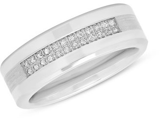 Men's 1/8 CT. T.W. Diamond Two Row Wedding Band in Stainless Steel and Cobalt - Size 10