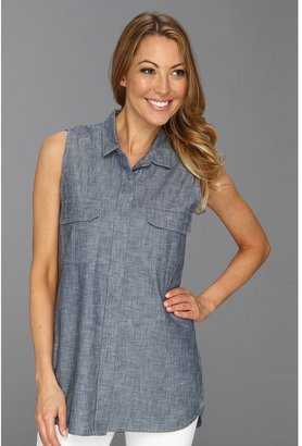 Calvin Klein Jeans Arvind Sleeveless Utility Shirt (Blue Grey Chambray) - Apparel