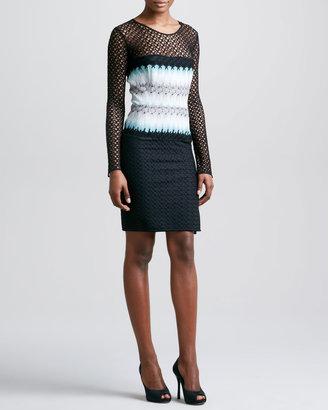 Missoni Long Crochet-Sleeve Dress, Black/Aqua
