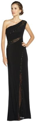 LM Collection black stretch jersey sequin detailed one shoulder gown