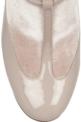 Valentino Patent-leather and velvet T-bar pumps