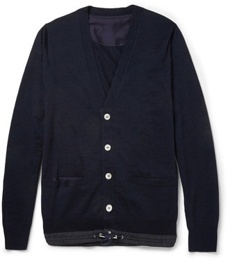 Sacai Fine-Knit Wool Drawstring-Hem Cardigan