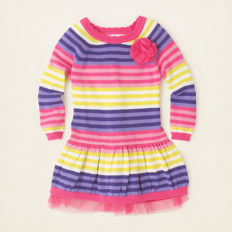 Children's Place Striped mesh sweater dress