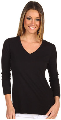 Red Dot Cotton Knit 3/4 Sleeve Deep V-Neck Top