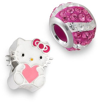 Hello Kitty® Sterling Silver Crystal Striped & Heart Bead Set $100 thestylecure.com