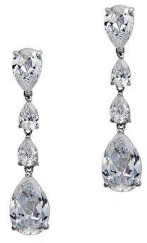 Nina Delores Cubic Zirconia Linear Drop Earrings