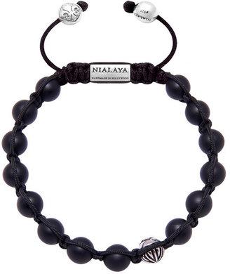 Nialaya Jewelry - Men'S Classic Beaded Bracelet With Matte Onyx And Silver