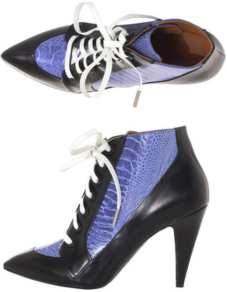 Balenciaga Leather and ostrich lace-up boots