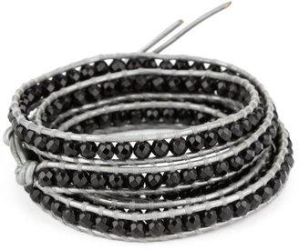 Chan Luu onyx Semi Precious Stones on Grey Leather Bracelet