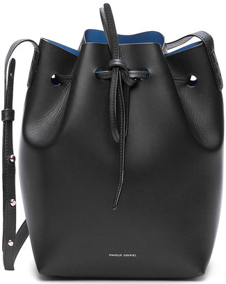 Mansur Gavriel Coated Mini Bucket Bag in Black & Royal | FWRD