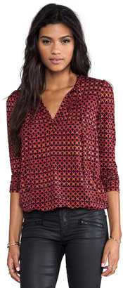 Plenty by Tracy Reese Dot Grid Printed Jersey Tie Neck Blouse