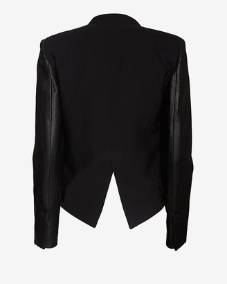 Helmut Lang Smoking Wool Cropped Leather Sleeve Blazer