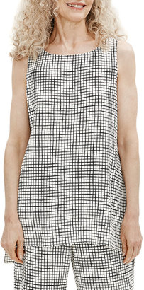 Eileen Fisher Plus Size Grid Bateau-Neck Long Textured Crepe Shell