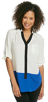 Amy Byer Henley Solid Colorblock Blouse