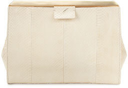 Brian Atwood Leigh Pyramid Frame Snakeskin Clutch Bag, White