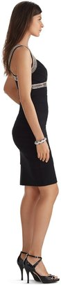 White House Black Market Sleeveless V-Neck Embellished Instantly Slimming Black Dress