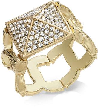 Material Girl Gold-Tone Rhinestone Pyramid Stretch Bracelet