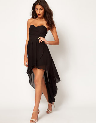 TFNC Pleated Chiffon Bandeau Hi Lo Dress