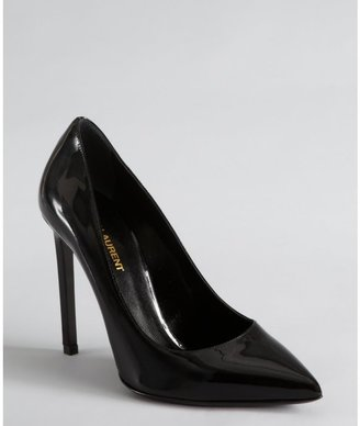Yves Saint Laurent black patent leather pointed toe pumps