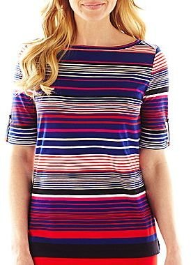 Liz Claiborne Roll-Tab Striped Tee