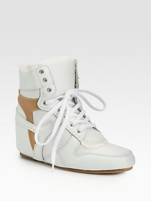Junya Watanabe Leather Lace-Up Wedge Sneakers