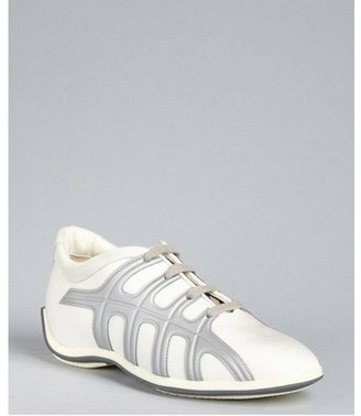 Hogan pearl canvas and leather lace up sneakers