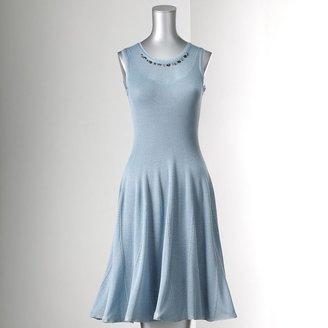 Vera Wang Simply vera embellished godet dress