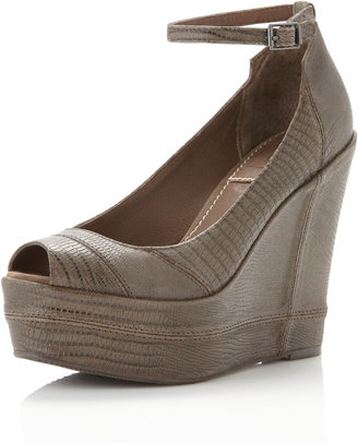 Bacio61 Bacio 61 Notiz Ankle-Strap Peep-Toe Wedge, Taupe