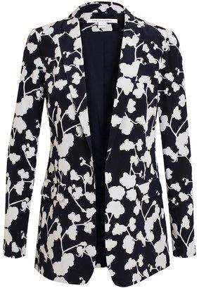 Diane von Furstenberg Vint Orchid Printed Silk Blazer
