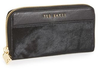 Ted Baker 'Large' Calf Hair & Leather Zip-Around Wallet