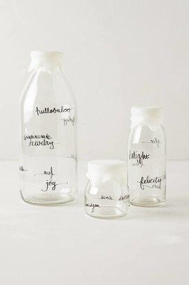 Anthropologie Glass Dairy Bottle