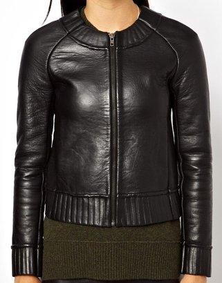 Muu Baa MuuBaa Rabi Lambs Leather Jacket with Bonded Knit Lining