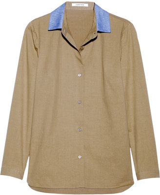 Carven Contrast-collared cotton-poplin shirt